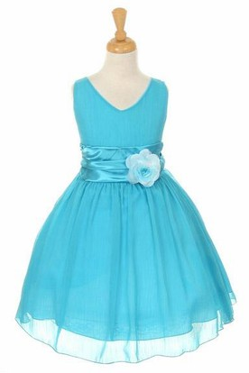 Knee-Length V-Neck Tiered Chiffon&Satin Flower Girl Dress