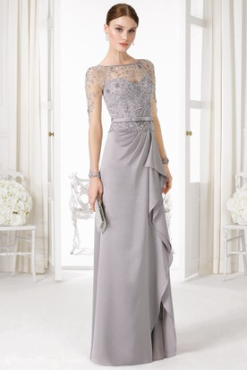 Sheath Long-Sleeve Floor-Length Beaded Bateau-Neck Jersey Prom Dress