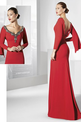 Sheath Long-Sleeve Floor-Length V-Neck Jersey Prom Dress