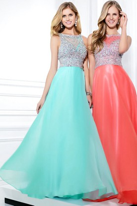 A-Line Sleeveless Jewel Neck Beaded Chiffon Prom Dress With Illusion Back