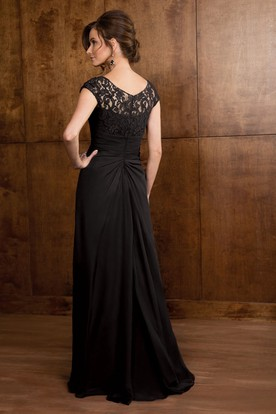 Cap-Sleeved A-Line Gown With Ruffles And Lace Bodice