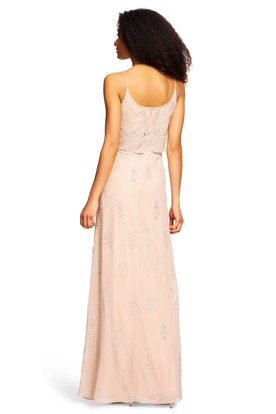 Sheath Beaded Spaghetti Sleeveless Chiffon Bridesmaid Dress