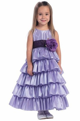 Ankle-Length Tiered Taffeta Flower Girl Dress