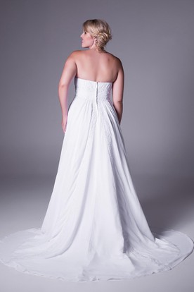 Sheath Appliqued Strapless Chiffon Plus Size Wedding Dress With Ruching And Court Train