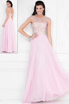 A-Line Scoop-Neck Cap-Sleeve Chiffon Deep-V Back Dress With Beading And Pleats