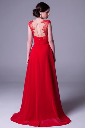 Sheath Empire Floor-Length Cap-Sleeve Appliqued Chiffon Prom Dress With Ruching