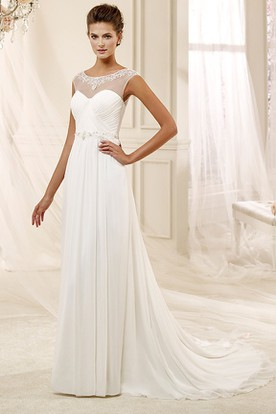 Jewel-Neck Draping Chiffon Wedding Dress With Pleated Bodice And Illusive Design