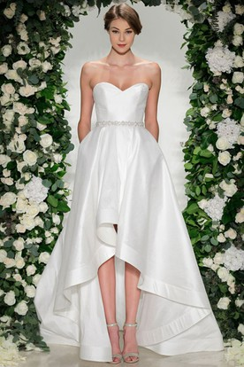 A-Line Sweetheart Jeweled High-Low Satin Wedding Dress With Ruching