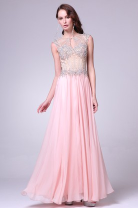 A-Line Jewel-Neck Sleeveless Chiffon Keyhole Dress With Beading And Pleats