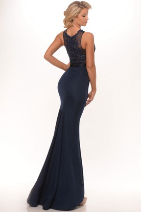 Mermaid Sleeveless High Neck Appliqued Satin Prom Dress