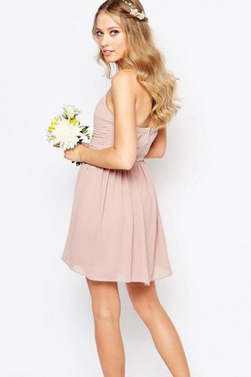 A Line Criss Cross Sleeveless Short Mini Sweetheart Chiffon Bridesmaid Dress