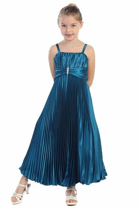 Tea-Length Spaghetti Pleated Satin Flower Girl Dress