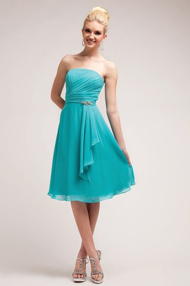 A-Line Knee-Length Strapless Sleeveless Chiffon Dress With Ruching