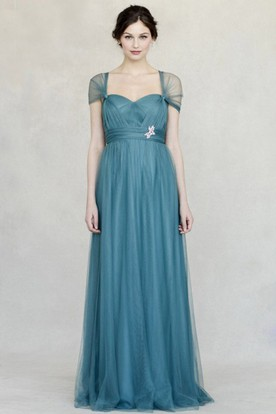 Jeweled Sweetheart Empire Cap Sleeve Tulle Bridesmaid Dress With Straps