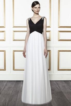 Epaulet Sleeveless V-Neck Floor-Length Satin Wedding Dress With Sweep Train And Deep-V Back
