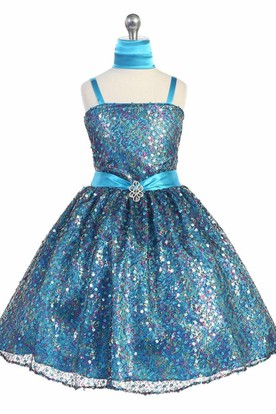 Cape Tea-Length Beaded Tiered Sequins&Satin Flower Girl Dress With Ribbon