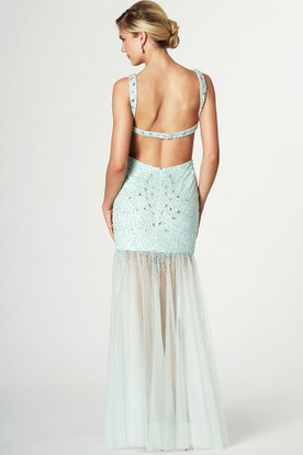Beaded Sleeveless Scoop Neck Tulle Prom Dress With Pleats And Straps