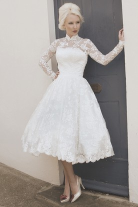 Tea-Length A-Line Long Sleeve High Neck Appliqued Lace Wedding Dress