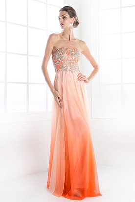 Ombre Sheath Strapless Sleeveless Chiffon Backless Dress With Beading