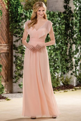 Cap-Sleeved V-Neck A-Line Bridesmaid Dress With V-Back And Ruffles