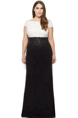 Appliqued Cap Sleeve Bateau Neck Chiffon Evening Dress