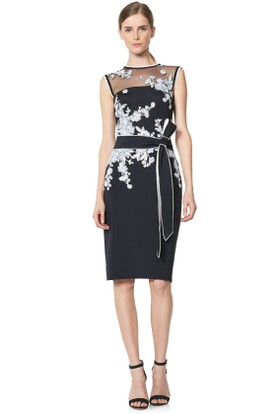 Pencil Knee-Length Jewel Appliqued Sleeveless Cocktail Dress With Illusion Back And Bow