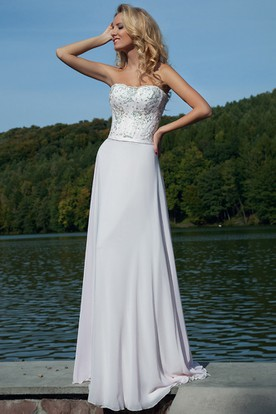 A-Line Floor-Length Sequined Sleeveless Strapless Chiffon Prom Dress