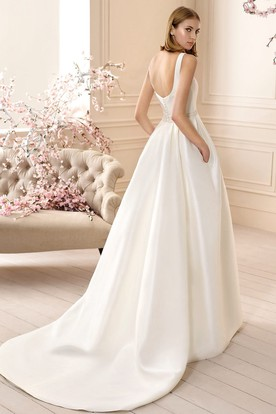 A-Line Sleeveless Square-Neck Jeweled Long Satin Wedding Dress