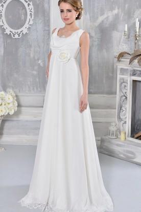 Lace Floor-Length Sleeveless Cowl-Neck Empire Chiffon Wedding Dress