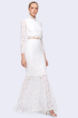 Sheath Ankle-Length High Neck Long-Sleeve Lace Wedding Dress