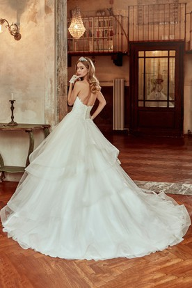 Sweetheart A-Line Wedding Dress With Ruching Skirt and Lace Corset