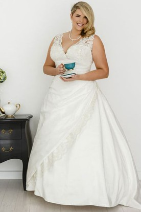 A-Line V-Neck Sleeveless Maxi Draped Taffeta Plus Size Wedding Dress With Appliques
