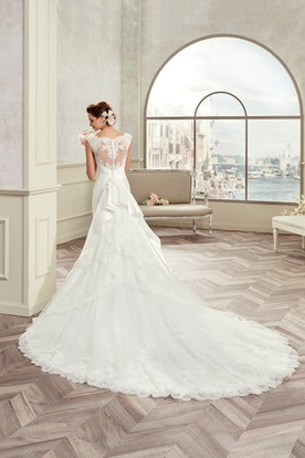 Jewel-Neck Cap Sleeve Satin Bridal Gown With Detachable Train And Back Bow