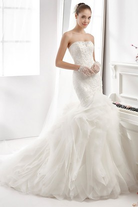 Strapless Appliqued Mermaid Wedding Dress With Ruffled Train And Sequins