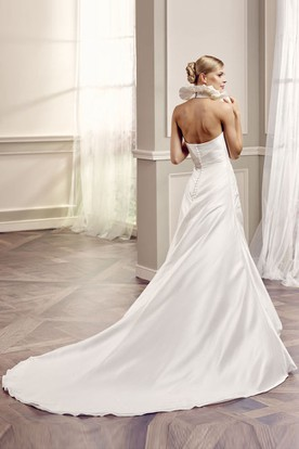 A-Line V-Neck Sleeveless Floor-Length Ruffled Satin Wedding Dress With Backless Style And Side Draping