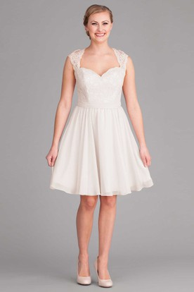 Midi Queen Anne Cap-Sleeve Lace Chiffon Wedding Dress
