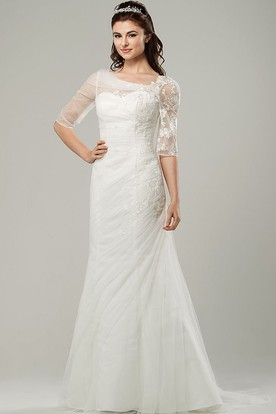 Ruched Scoop-Neck Half-Sleeve Tulle Wedding Dress With Sweep Train