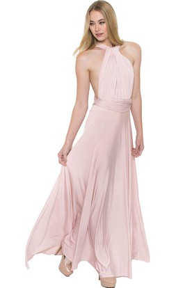 Sleeveless Ruched High Neck Chiffon Muti-Color Convertible Bridesmaid Dress With Sash And Keyhole