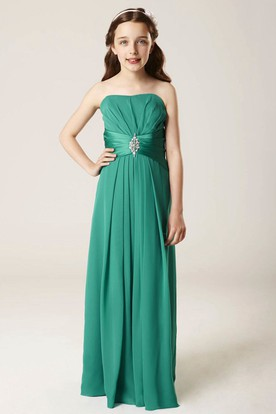 Ruched Strapless Chiffon Bridesmaid Dress With Waist Jewellery And Lace-Up