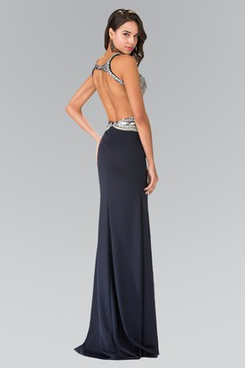 Sheath Jewel-Neck Sleeveless Jersey Backless Dress With Beading And Sequins