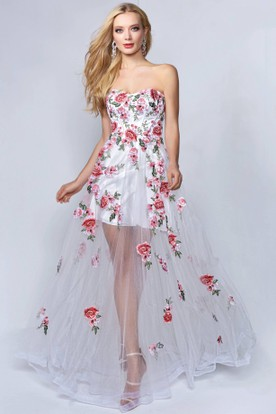 A-Line Strapless Sleeveless Tulle Backless Dress With Appliques And Flower