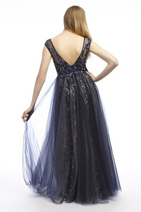 Cap-Sleeve Appliqued Floor-Length Bateau-Neck Tulle&Lace Prom Dress