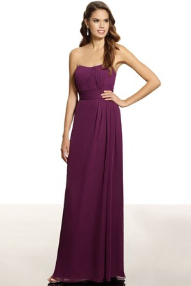 Ruched Strapless Chiffon Bridesmaid Dress