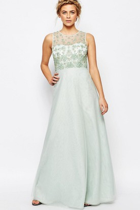 A-Line Sleeveless Scoop Neck Beaded Tulle Bridesmaid Dress With Illusion Back