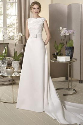 Sheath Appliqued Cap-Sleeve Floor-Length Bateau-Neck Satin Wedding Dress