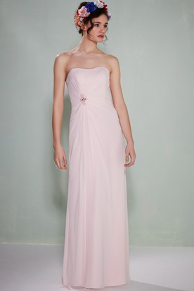 Strapless Ruched Chiffon Bridesmaid Dress With Broach