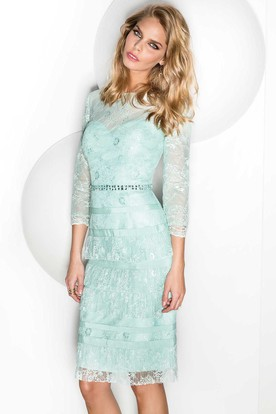 Pencil Beaded 3-4-Sleeve Knee-Length Jewel-Neck Lace Prom Dress With Tiers