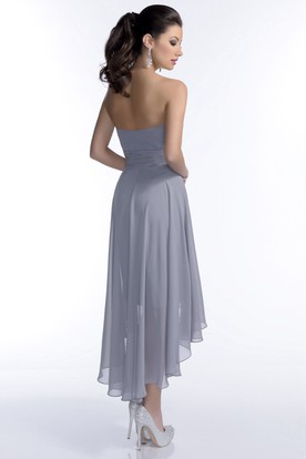 High-Low Strapless Chiffon Bridesmaid Dress With Brooch And Ruching