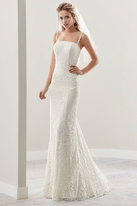 Fine Lace Sheath Bridal Gown With Spaghetti Straps And Low Back