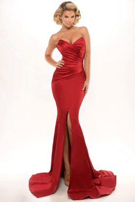 Mermaid Sweetheart Floor-Length Split-Front Sleeveless Satin Prom Dress With Zipper Back And Ruching